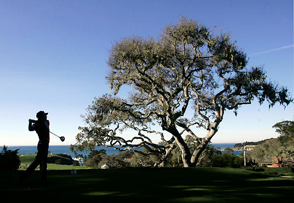 Mark Wilson made a birdie on 18 at Pebble Beach to shoot even par.