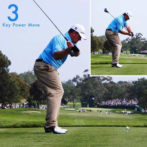 "3. J.B. hinges his wrists only slightly going back, but look how hinged they are coming down — he's ""down-cocked"" and added tremendous leverage. This is a good way to hit the ball far (though not necessarily straight). Check out how he squats at the start of his downswing, just like Sam Snead did."