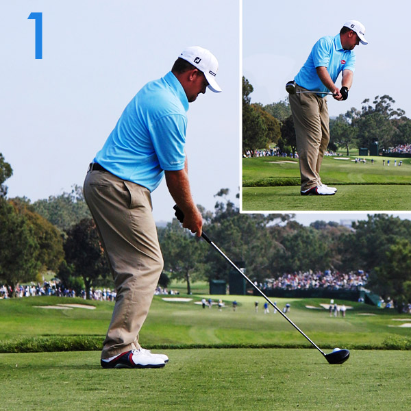 1. Holmes squats slightly at address, with the clubshaft and his hands lower than they'll be at impact. This isn't an ideal power position, and neither is his takeaway — the club gets too far behind his hands. He'll have to compensate for this unorthodox start later in his swing.