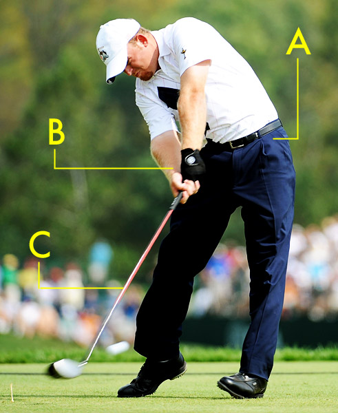 Up, Up and Away                                              Look at J.B.'s feet — they're almost off the ground! This gives you an idea of how much force he generates in his swing. Holmes can reach clubhead speeds in excess of 135 mph. While other players are able to match this number, J.B. gets more out of his swing than anyone, consistently launching it 20 yards longer than even the biggest hitters on Tour. His secret: hitting up through the ball at impact.                                              Hands                                              His extended arms create a massive amount of speed that is transferred through his hands to the club.                                              Shaft                                              His shaft angle ascends into the ball, producing a high-launch, low-spin drive for pure power.                                              Hips                                              J.B.'s hips rotate tremendously against his firm left side.                                              See the swings of Tiger Woods, Natalie Gulbis, Greg Norman and more