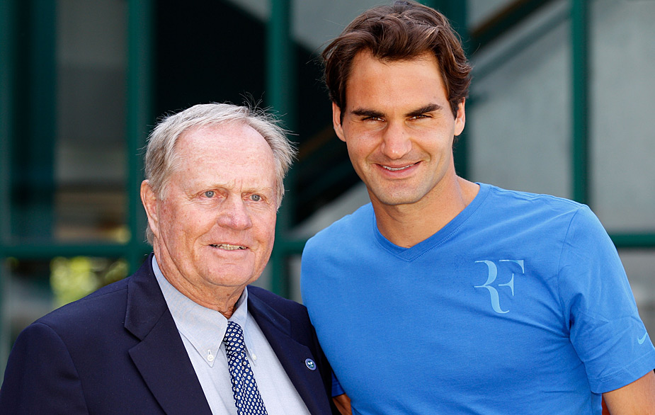2012                     Jack Nicklaus met with Roger Federer at Wimbledon. The two legends have combined to win 34 major titles in their respective sports.