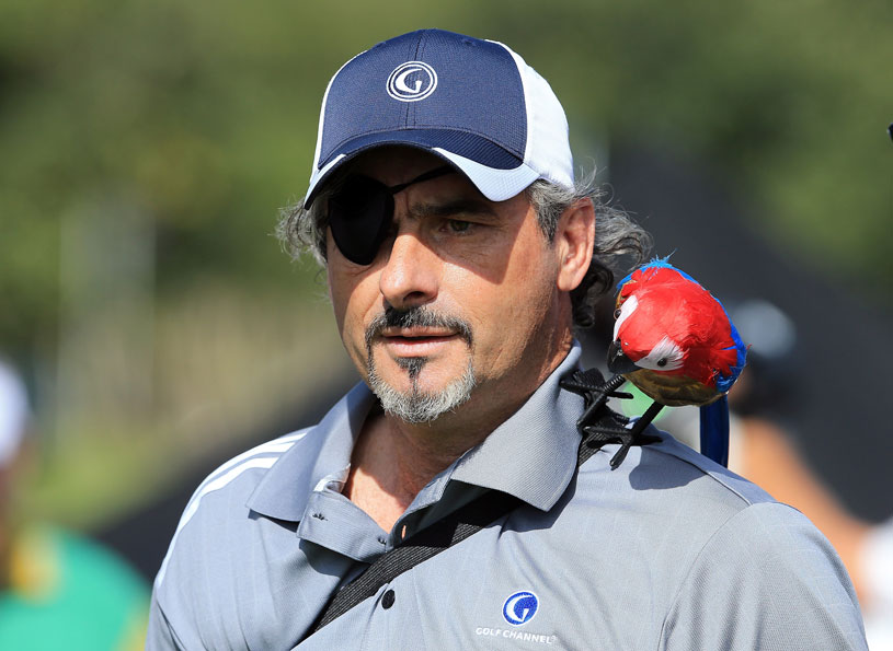 David Feherty wore an eye patch after he scratched his cornea while taking a shower.