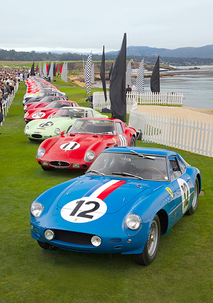 A row of Ferrari 250 GTOs lined the 18th fairway.