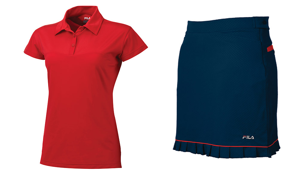 Fila Savannah Polo, $80, and Malaga Golf Skort, $80; shopfilagolf.com                       Fila's sporty look features Tech-Dry fabric that draws moisture away from the body to the fabric's outer layer, where it evaporates quickly. Also included: an anti-bacterial finish to help eliminate perspiration odor.