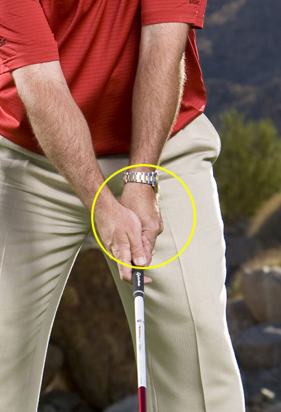 Step 2                       Choke down an inch or two and increase the grip pressure in your left hand. Then, set your stance slightly open by aligning your body about 10 yards to the left of the middle of the fairway. This positions you to hit an easy fade.