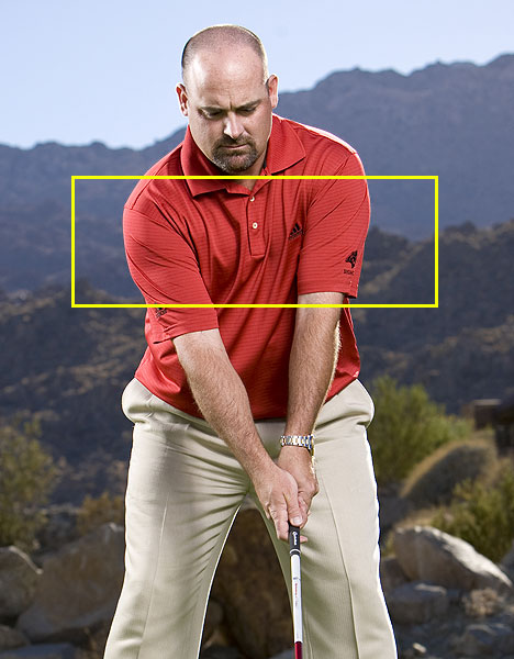 Step 3                     Gently squeeze your upper arms against your chest at address. This move creates a stronger connection between you're your body and your arms