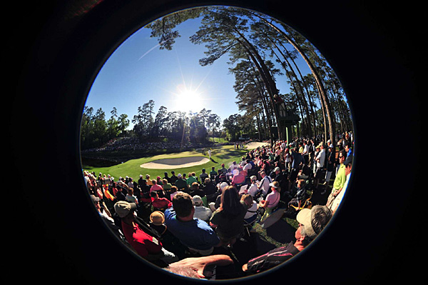 A fish-eye view of the 16th at Augusta National.
