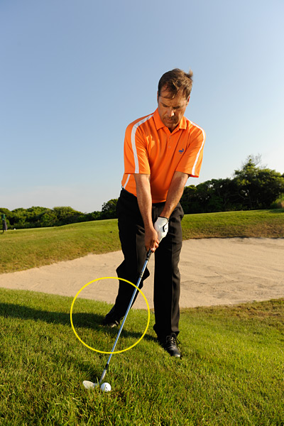 STEP 1                                              Grab your highest-lofted club (the hill subtracts loft), then take your normal address position and lift your right heel, which will keep you from hanging back on your right side. Set your shoulders parallel with the slope (left shoulder below your right).