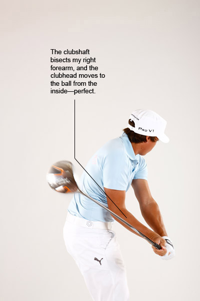 Copy This!                                              As I get deeper into my downswing, the shaft continues to drop in response to my hip-first move at the top. This is the ultimate power-producing path, with the shaft bisecting my right forearm and the clubhead approaching the ball from inside the target line.