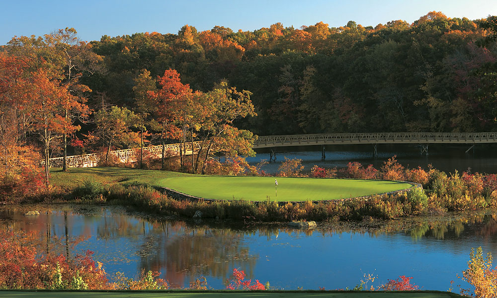 7. Lake of Isles/Foxwoods Resort, North Stonington, CT; 888-475-3746, foxwoods.com                     The Mashantucket Pequot Tribal Nation pioneered the tribal casino resort concept with its wildly successful Foxwoods property in southeastern Connecticut, but it wasn't until 2005 that they had a golf course worth bragging about. Actually, Rees Jones artistically chiseled two strong tracks from the rocky terrain, the North and the South. The South is strictly private, but the paying public is hardly shortchanged: with its striking visuals, a rating of 76.6 and a slope of 146, the North is all the golf you could want. Jones routed his holes over and through a spectacular but often unyielding landscape comprised of wetlands, rock ledges and heavily rolling, wooded terrain. Lake of Isles occupies land that once served as a Boy Scout camp; if you can make your way around this stern test with one ball, you've earned your badge