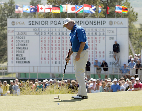 At the end of May 2010, Couples competed in his first-ever senior major, the Senior PGA Championship at Colorado Golf Club in Denver, Colorado. Couples made back-to-back eagles on the 15th and 16th holes on Sunday to tie Tom Lehman and David Frost for the lead at the end of regulation. Unfortunately for Freddie, Lehman won the trophy on the first hole of the sudden death playoff with a par.