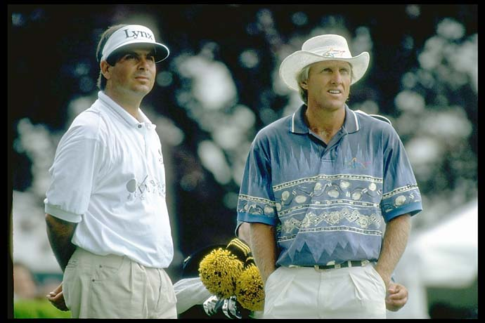 1990s style: Fred Couples and Greg Norman at the Buick Westchester Classic in June 1994.
