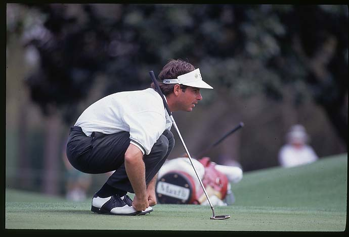 Fred Couples lines up a putt at the 1992 Masters, his one and only major victory.