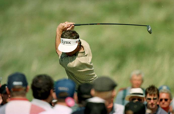 Fred Couples drives off the sixth tee during the second round of the 126th British Open golf championship at Royal Troon Golf Club in Troon, Scotland.