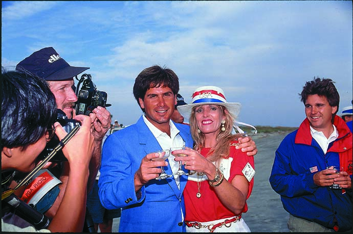 Fred Couples with his then-wife Debborah enjoy a drink at the War By the Shore, the 1991 Ryder Cup at Kiawah Island.