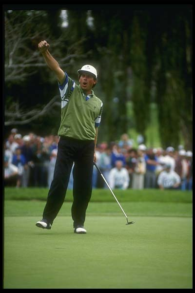 Fred Couples celebrates his win at the 1992 Nissan Los Angeles Open at the Riviera Country Club.
