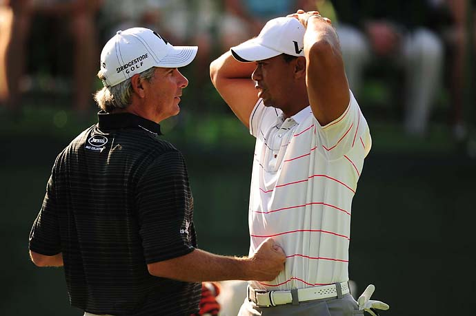 Fred Couples has some fun with Tiger Woods at the Memorial Tournament in May 2012. Woods won the tournament.