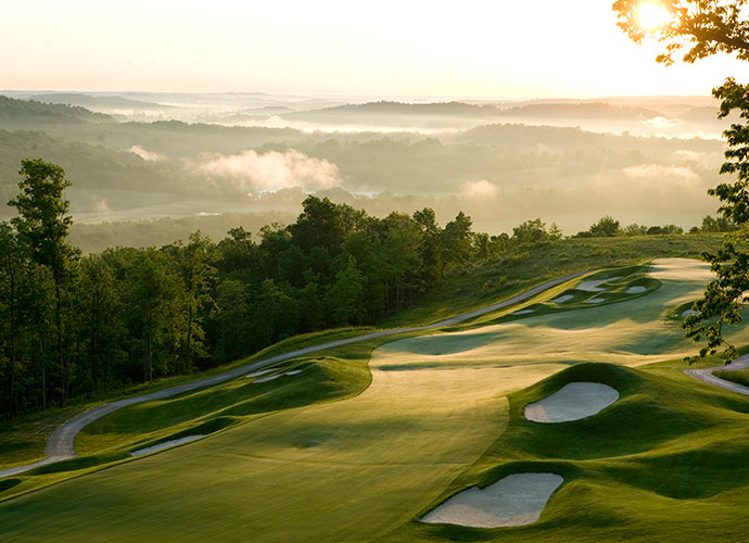 9. French Lick Resort (Pete Dye), French Lick, Ind.; frenchlick.com; $350-$380                       You'll need local hero Larry Bird's long-range touch to cope with this five-year-old, 8,100-yard Pete Dye brute that plays atop ridges and through valleys amid the rolling countryside of southern Indiana. Rough-covered sidehill lies and a fistful of volcano bunkers will drain any golfer. Restore next door at the French Lick Resort Casino, with its spa and gaming tables.