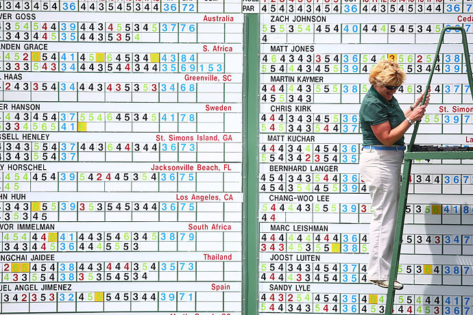 High-tech leaderboard, Augusta National-style.
