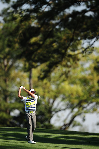 Bubba Watson on the second hole Friday. Even a giant like Bubba is dwarfed by the tall pines at Augusta National.