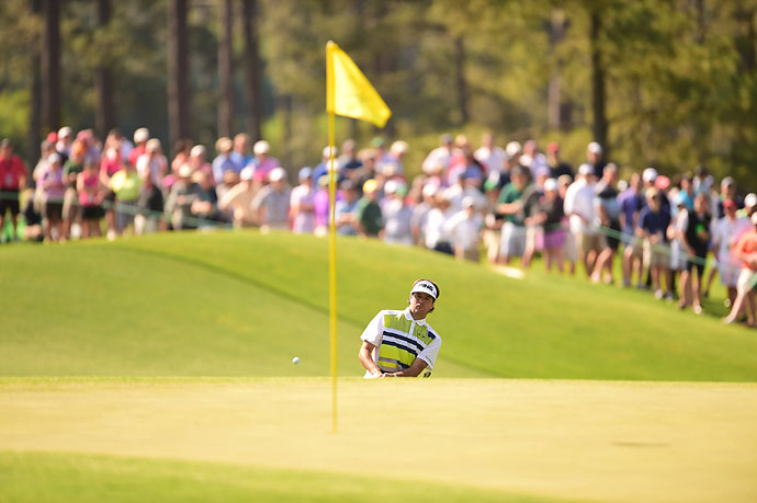 Bubba Watson on the third hole on Friday. The 2012 champion was the class of the field on Friday with a 68.