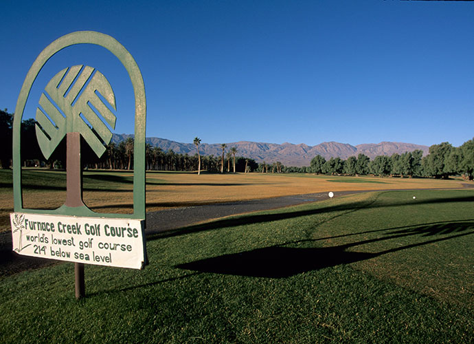 Furnace Creek Golf Course, California: Golfers like to go low. Really low. For the most extreme among them, there's this Death Valley layout, which sits farther below sea-level (214 feet) than any course on earth. Open for play throughout the year, it's never more daunting than in the summer, when Furnace Creek stages Heat Stroke Open. Bring a water bottle. The mercury peaks at 125 degrees.