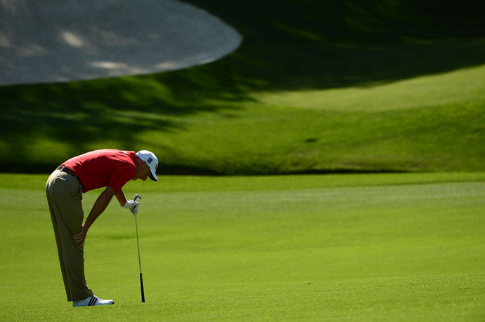 Jim Furyk chunked his third shot into the water on the par-5 15th, but he was still able to finish at four under par.