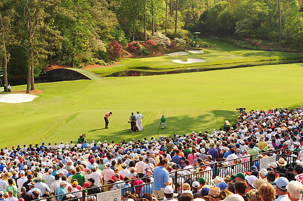 Fans at the par-3 12th, the heart of Amen Corner, enjoyed perfect weather throughout the day.