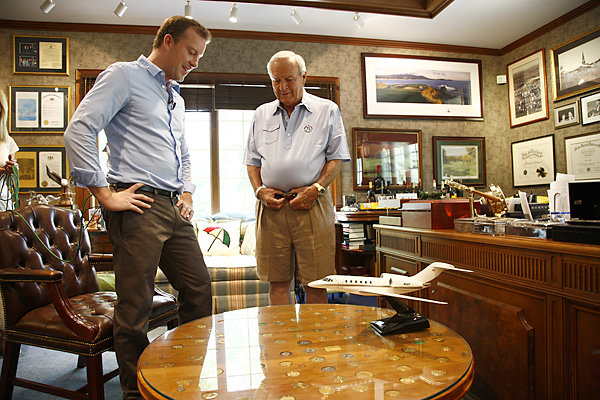 "In front of Palmer's office desk is a table with 62 medals under glass, one from each of his PGA Tour victories. (Apparently when you win a PGA Tour event, you get a medal. I had no idea.) Palmer took me through some of the highlights, then motioned to two empty spots on the left side of the display, where there were a couple of patches of green felt. ""Know why those are empty?"" he asked me slyly. ""I wanted to have room, just in case I win a couple more."""