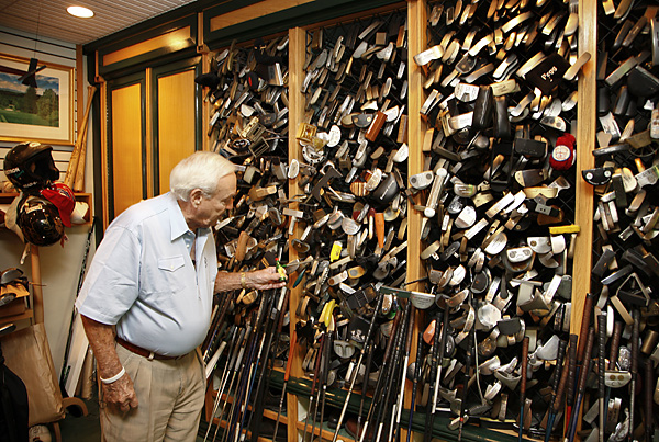 One wall of Palmer's workshop contains shelves filled with hundreds of putters. Arnie said he has enjoyed experimenting with flatstick designs over the years. These days, he prefers playing a two-ball putter.