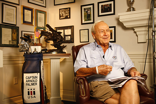 Palmer's memorabilia room is lined with honors, including a Claret Jug and Ryder Cup, and letters from former U.S. presidents, including a framed note and $10 bill from Dwight Eisenhower (far left), who sent it to Palmer after losing a bet to the golfer.