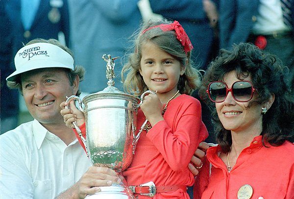 The Floyds (celebrating Ray's victory at the 1986 U.S. Open) were married in 1973 and have three children.