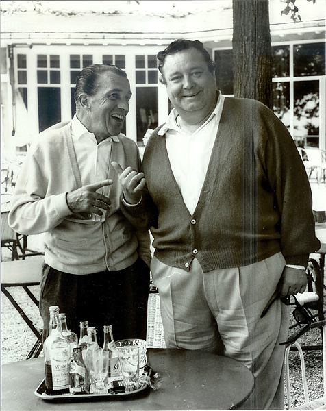 "Jackie Gleason and Ed Sullivan, golf club in Paris, 1962                                              Gleason takes a break from his movie Gigot with old friend Ed Sullivan. Although Sullivan gets credit for Elvis Presley's national audience debut in the fall of 1956, Presley appeared on Gleason's variety program ""Stage Show"" in January 1956."