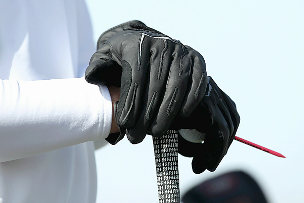 "Tommy ""Two Gloves"" Gainey sported his trademark black gloves on Sunday."