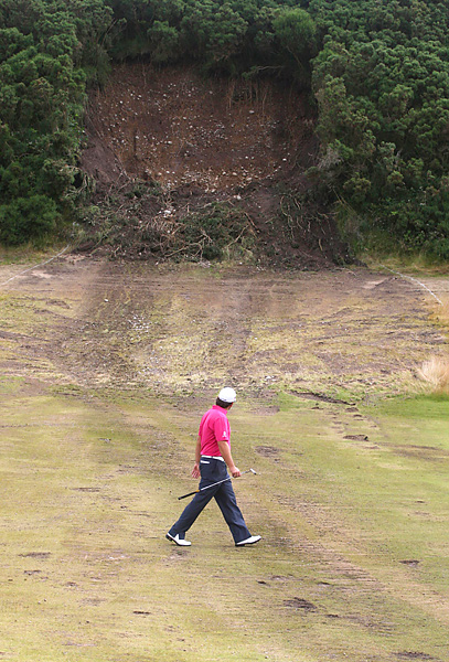 got a good look at Saturday's landslide damage at Castle Stuart.