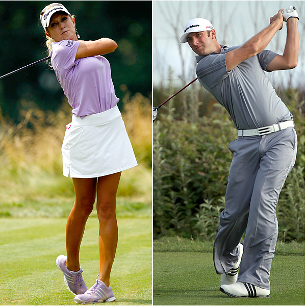 Natalie Gulbis and Dustin Johnson                                          SI broke the news of this telegenic twosome after Gulbis was spotted following Johnson's group at the 2011 season-opening event at Kapalua. The duo reportedly split soon afterwards.