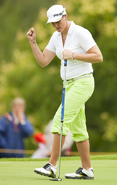 Maria Hjorth of Sweden shot a 67 and is also tied for the lead.