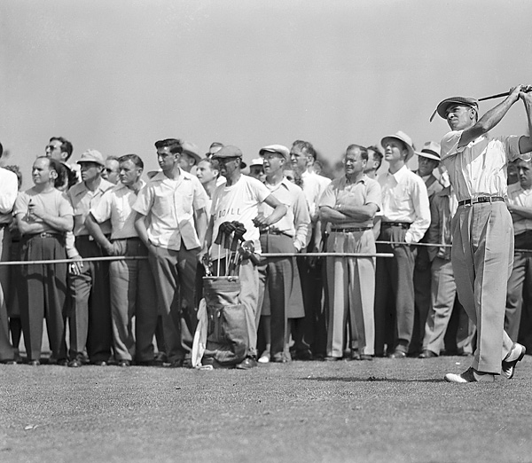 In 1946, when Ben Hogan won his first of the modern major championships, the PGA Championship was still a match play event. Hogan (shown here at the 1946 Goodall Round Robin Gold Tournament at Winged Foot) defeated Ed Oliver 6 & 4 in the 36-hole championship match.