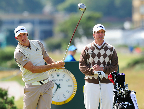 Mickelson teamed with Dustin Johnson during his Monday practice round.
