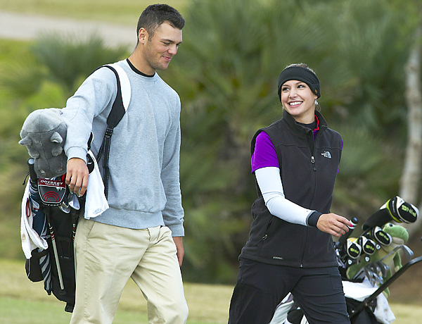 Martin Kaymer caddied for his girlfriend, Allison Micheletti, at the Ladies European Tour Qualifying School in December 2010.