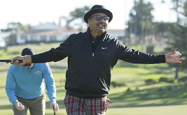George Lopez hammed it up with galleries throughout his opening round.