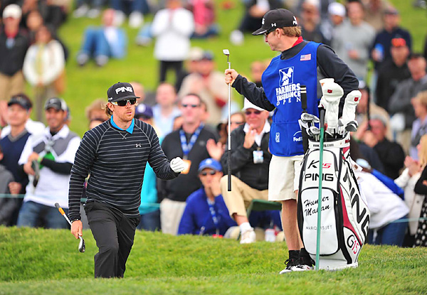 played alongside Mickelson and Haas in the final group, but struggled to a 73 and tied for sixth.