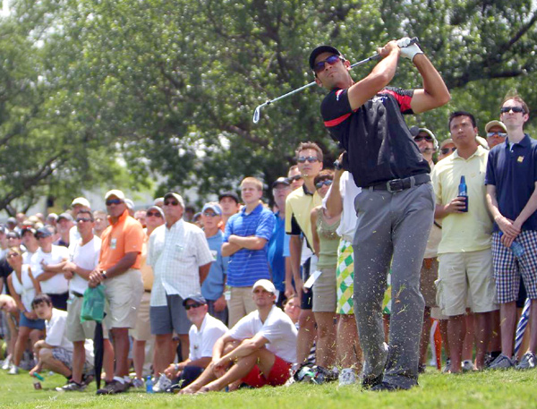 was on top of the leaderboard at the start of the weather delay. He bogeyed his final two holes to finish at 2 under.