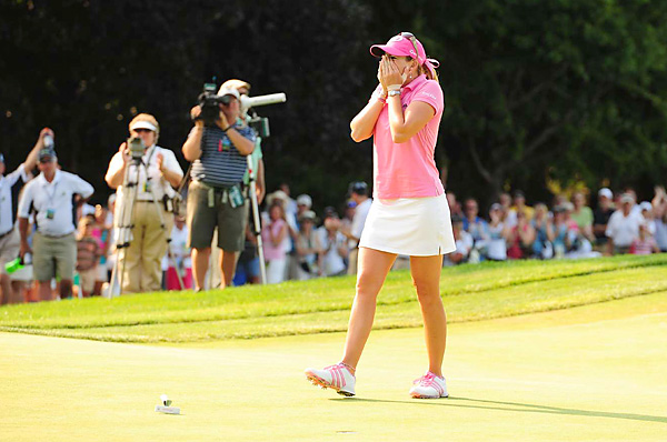 Creamer stayed poised as most of the contenders around her kept tumbling, and finally celebrated after her final putt dropped.