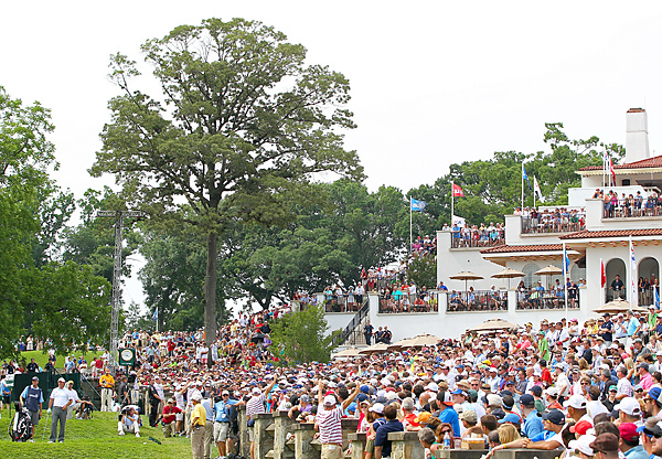 He wasn't in contention, but Mickelson still drew a huge crowd on the 10th tee.