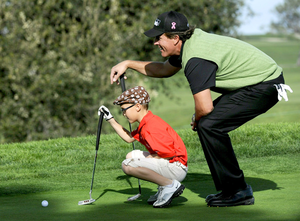 Mickelson had some fun with a young fan in during the Wednesday pro-am.