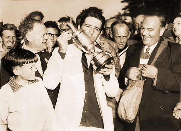 Gary Player weathered through 36 holes on the final day of the 1959 British Open at Muirfield to win his first of nine majors by two shots.