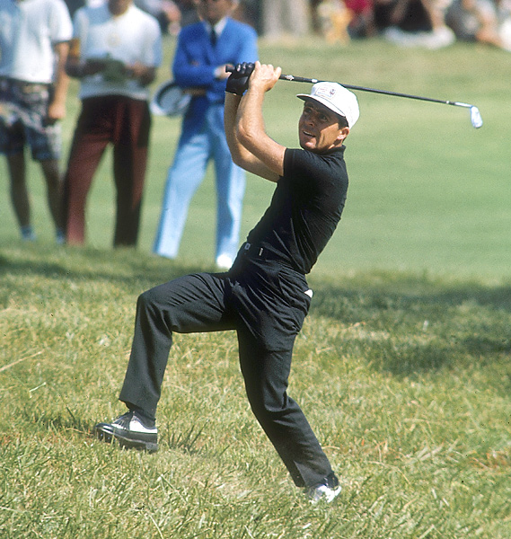 4. The 1965 U.S. Open                       Player hacked this shot out of the rough at Bellerive Country Club, where he defeated Kel Nagle in a playoff for the victory.