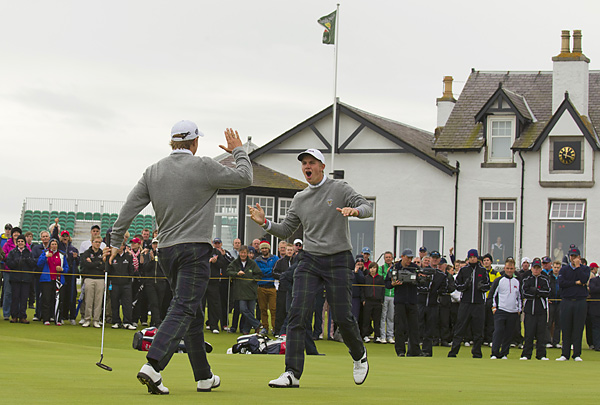 Jordan Spieth and Patrick Rodgers                                              Spieth (left) and Rodgers rallied from 4 down with six to play to halve their match with Tom Lewis and Michael Stewart on Sunday morning when Spieth made an 18-foot par putt on the final hole. Spieth finished the event 2-0-1, while Rodgers went 0-2-1.