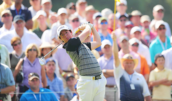 McIlroy once again played with his injured wrist heavily taped.